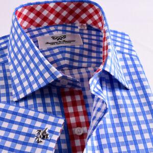 New Unique Designed Blue Checkered Business Shirt Easy Iron Boss Mens Formal