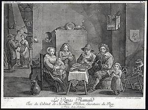 Antique Master Print-KITCHEN-PRAYER-FLANDERS-FAMILY-Major-Teniers-ca. 1760