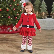 Kids Girls Toddler Christmas Velvet Outfit Top Bottom Set