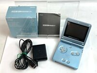 Nintendo GameBoy Advance SP Console Pearl blue Boxed w/manual charger WORK Japan