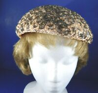 Vintage Womens Hat Bonnet Minera V. Lippert Beaded Peach Synthetic Straw