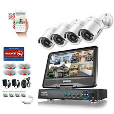"SANNCE 720P 4CH 10.1"" Monitor DVR  Built-in Outdoor HD Video Security Camera kit"