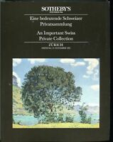 Sothebys Auction Catalog Nov 24 1992 An Important Swiss Private Collection