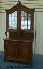 """61756 Antique Oak China Cabinet Curio Server Sideboard 111"""" Tall"""