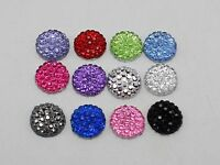 "200 Resin Round Flatback Dotted Rhinestone Gem Beads 8mm(0.31"") Pick Your Color"