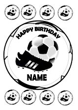 """FOOTBALL NO 2 BIRTHDAY CAKE ROUND EDIBLE ICING FROSTING 7.5"""" + 8 CUPCAKE TOPPERS"""