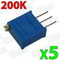 Potenciometro Multivuelta 200K 0,5w 3296-W 25 vueltas Trimpot - Lote 5 unidades