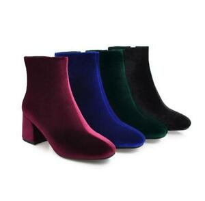Womens Faux Velvet Side Zipper Round Toe Casual Shoes Fashion Ankle Boots Sizes