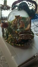 """Rare Lady and the Tramp Disney """"Wet Cement"""" Snow Globe Music Box with Lights"""