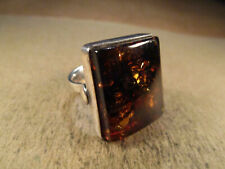 Large Sterling Silver & Amber Ring, Unsigned, Size ~8, 11.5g