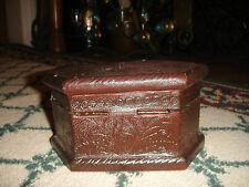 Antique Leather Bound Wood Trinket Box-Coffin Shape-Hinged Lid-Lovely Design