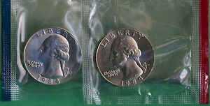 1984 P and D Washington Quarter TWO Coins from US Mint Uncirculated Set BU Cello