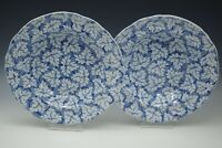 ANTIQUE STAFFORDSHIRE CREAMWARE LEAVES CHINTZ WHITE BLUE SET OF 2 RIMMED BOWLS