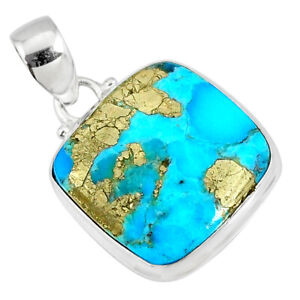 14.18cts Natural Blue Turquoise Pyrite 925 Silver Pendant R78151