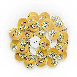 30pcs Smiling Round Wood Buttons for Sewing Scrapbooking Cloth Home Decor 25mm