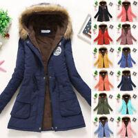 New Women Winter Warm Hooded Coat Windproof Faux Fur Parka Jacket Trench Outwear