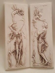 Set Of 2 Vintage Art Nouveau Faries Architectural Plastercast Wall Plaques (B2)