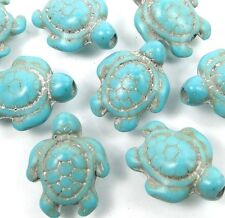 18x13mm Blue Turquoise Turtle Beads (12)