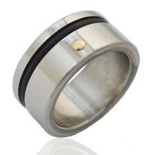 Anello fascia inglese mm 10 acciaio lucido con inserto in caucciu' e borchia oro