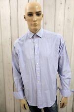 RALPH LAUREN Camicia Uomo Shirt Casual Blu Cotone Manica Lunga Chemise Taglia XL