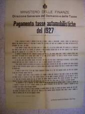 MANIFESTO PAGAMENTO TASSE AUTOMOBILISTICHE 1927  (b18-4)