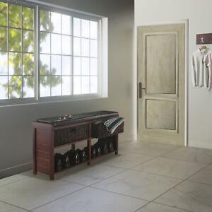 Winsome Wood Colin Storage Bench, Cappuccino, Seat Cushion & 2 Corn Husk Baskets