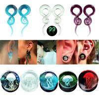 Pair Glass Spiral Tapers Ear Gauges Stretching Saddle Ear Plugs Piercing Jewelry