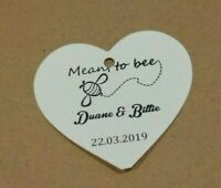 "Wedding personalize""Meant To Bee""stamped ivory heart,gift tags.20,30,50,100"