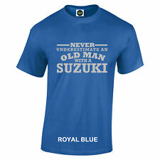 Suzuki Never Underestimate An Old Man With A t shirt Silver Logo to 5XL