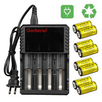 8PCS CR123A 3.7V Li-Ion Rechargeable Batteries &Charger For Arlo Security Camera