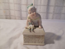 Vintage bisque porcelain piano baby w/doll trinket box Germany Rare