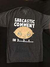"New! Family Guy Stewie ""Sarcastic Comment in 3...2...1"" Tee Shirt - Men's Size M"