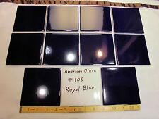 "10 Ceramic Tiles...Glossy…Royal Blue #105…by American Olean...4-1/4"""