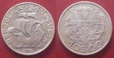 PORTUGAL. Año 1932. ESCASA Moneda de 10 Escudos PLATA . Peso 12,50 gr.