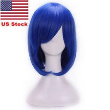 US Women Sapphire Royal Blue Straight Full Wig Cosplay Party Short Bob Bangs Wig