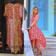 e3720e9351 ZARA Pink Red Yellow Floral Patchwork Midi Dress S BNWT 3198 047