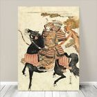 "Traditional Japanese SAMURAI Art CANVAS PRINT 24x16""~ Riding on Horse #111"