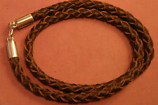 """Brown Lether Cord With Silver Clasps 16"""" OR 18"""" (PLEASE CONFERM LENTH )"""