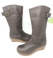 Crocs A-Leigh Leather Boot Size 5 Espresso Zip-Up Platform Wedge NEW W/Tags