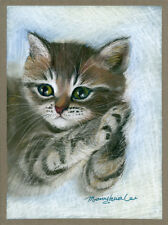 ACEO Limited Edition-Lost in thought, Cat art print, Gift for cat lovers,For her