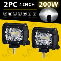 "2X 4"" 200W Led Work Light Bar FLOOD Driving Fog GZ For OFFROAD UTE SUV TRUCK POD"
