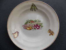 Antique Plate Hollow Ceranord St Amand Half Vitrified Decor Of Asparagus