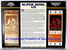 MIAMI DOLPHINS / REDSKINS Willabee & Ward 22KT GOLD SUPER BOWL 7 TICKET ~ SB VII