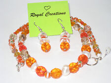 Orange and Other Beads Necklace with Earrings Set