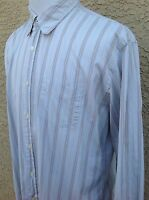 7 For All Mankind  Men's Large L Long Sleeve Striped Light Blue Shirt C49