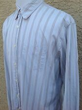 7 For All Mankind  Men's Large L Long Sleeve Striped Light Blue Shirt C49