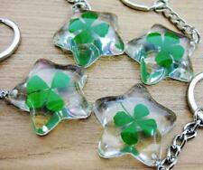 12 PCS Lucky Fine Star Irish lucky four leaf clover keychain NG