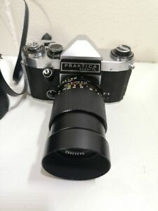Praktica Super TL SLR Film Camera With promura 3.5 135mm Lens Vintage