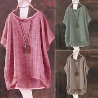 Plus Size Womens Bat Short Sleeve Casual Loose Top Blouse T-Shirt Pullover Tops