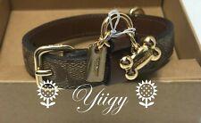 🌻 Coach 26175 Small Pet Dog Collar Signature Crossgrain Leather Khaki NW AUTH🌻